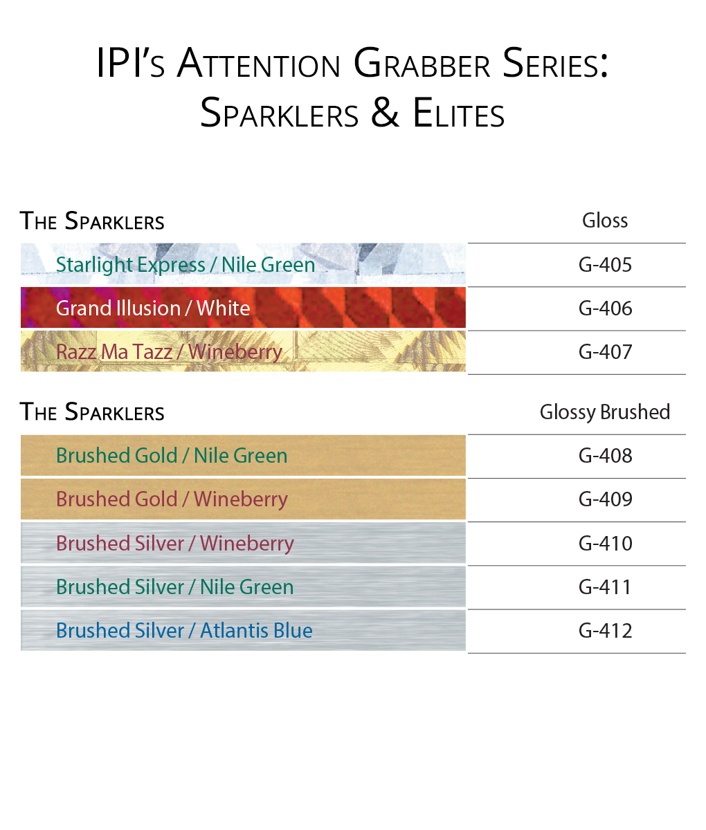 IPI Attention Grabber Series - Sparklers Elites material color options from Main Trophy Supply