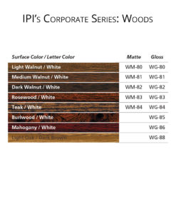 IPI Corporate Series - Wood engraving material color options from Main Trophy Supply