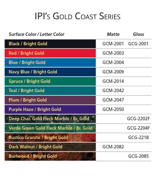 IPI Gold Coast Series engraving material color options from Main Trophy Supply
