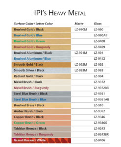 IPI Heavy Metal engraving material color options from Main Trophy Supply
