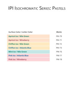 IPI Isochromatic Series - Pastels - engraving material color options from Main Trophy Supply