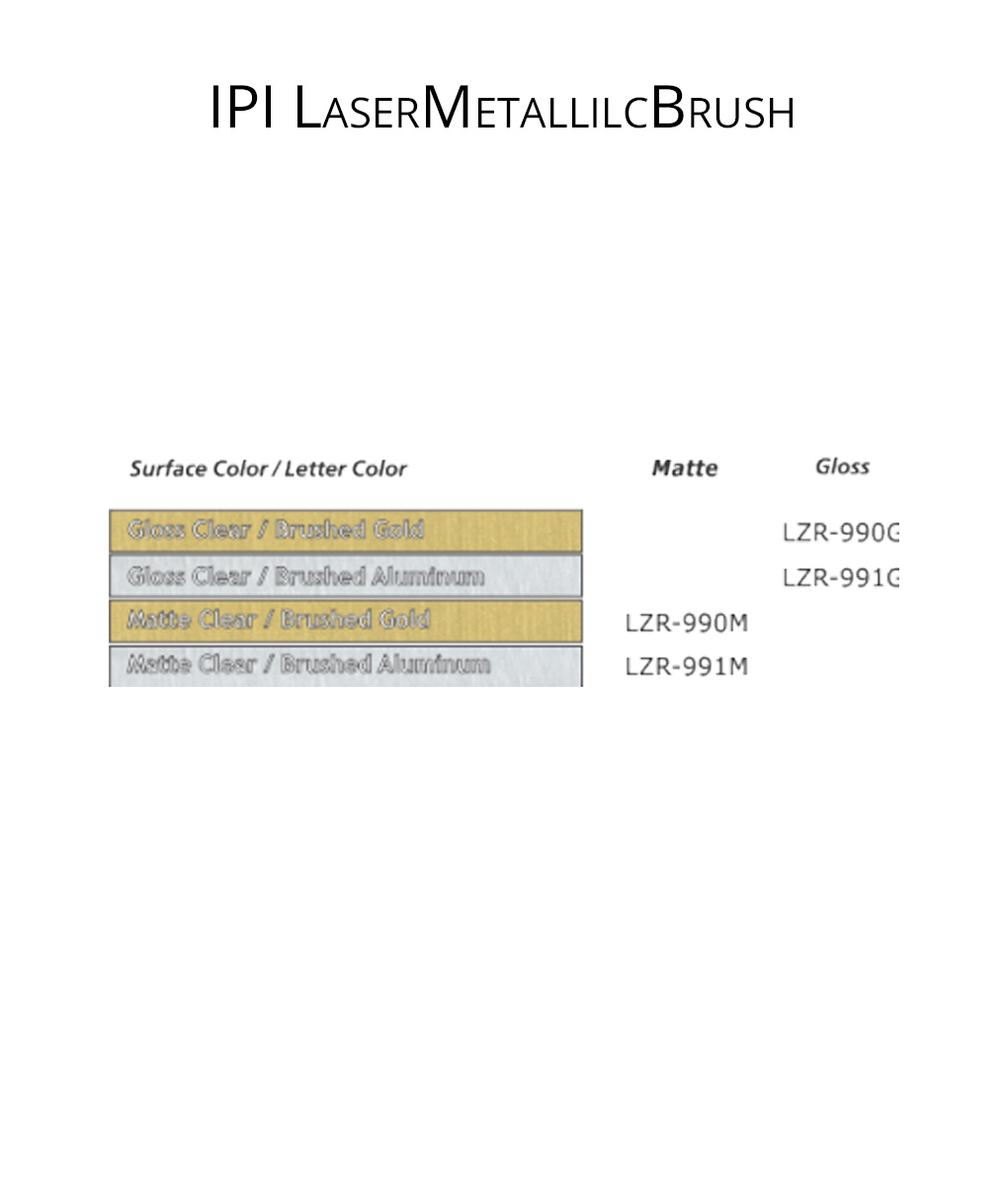 IPI LaserMetallicBrush - engraving material color options from Main Trophy Supply