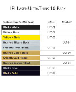 IPI Laser UltraThins – engraving material color options from Main Trophy Supply