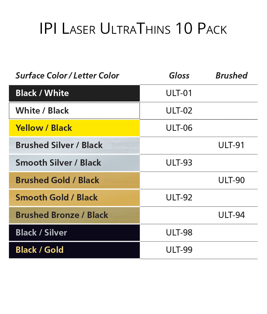 IPI Laser UltraThins - engraving material color options from Main Trophy Supply
