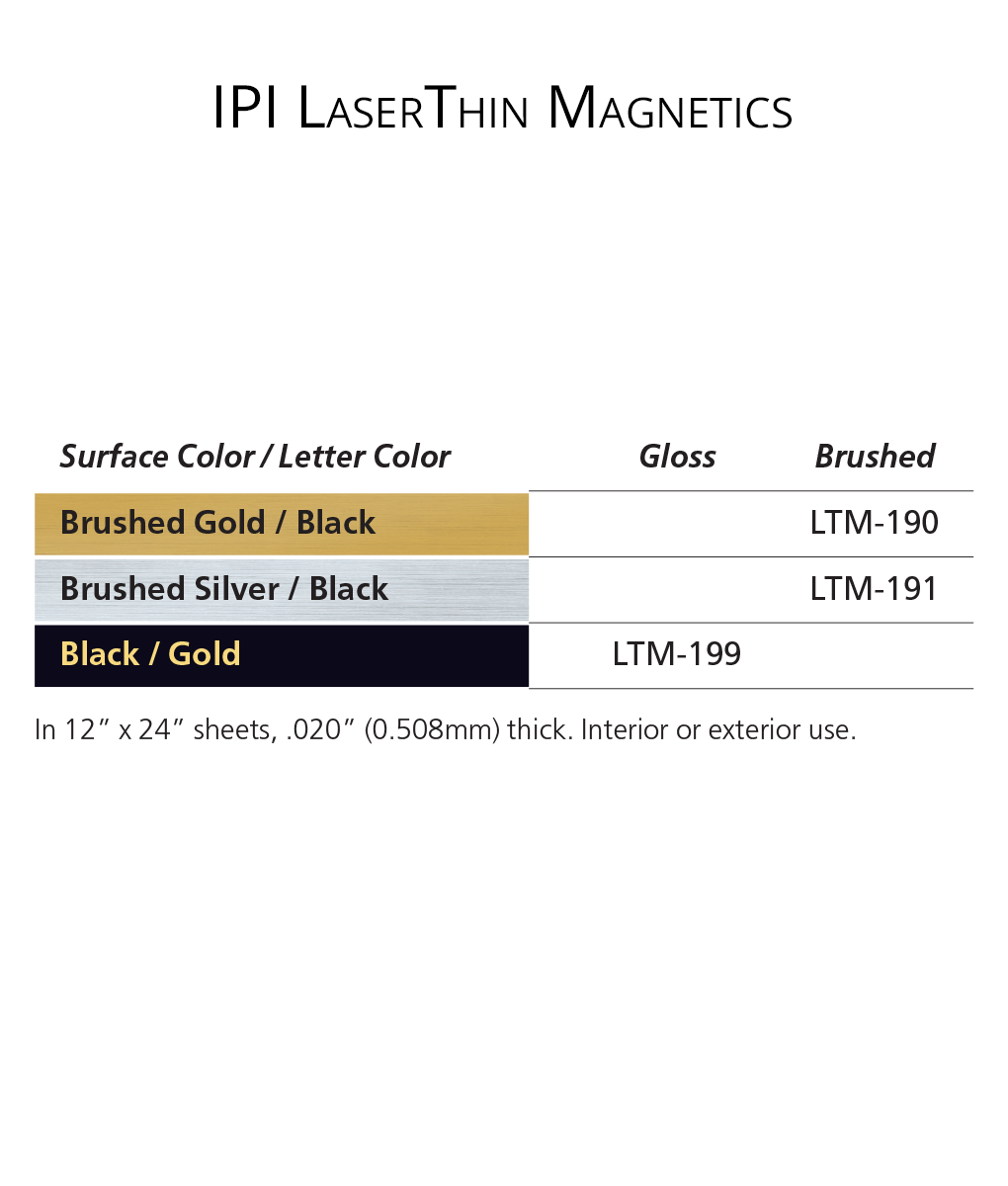 IPI LaserThin Magnetics - engraving material color options from Main Trophy Supply