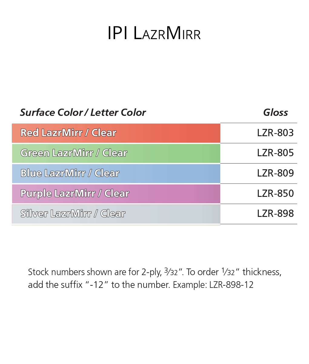 IPI LazrMirr - engraving material color options from Main Trophy Supply