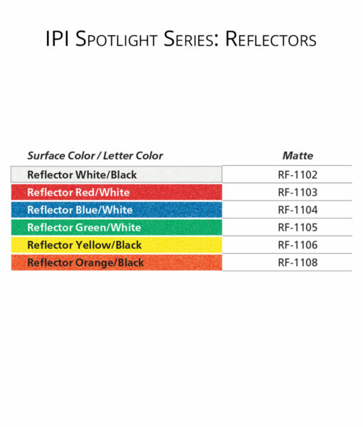 IPI Spotlight Series - Reflectors - engraving material color options from Main Trophy Supply