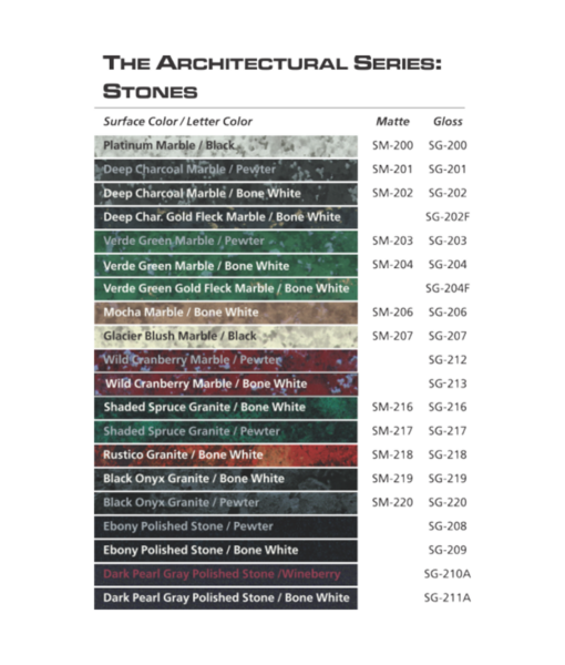 IPI Architectural Series Stones engraving plastic color options from Main Trophy Supply
