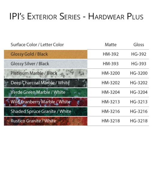IPI Exterior Series - Hardwear Plus Engravable material color options from Main Trophy Supply