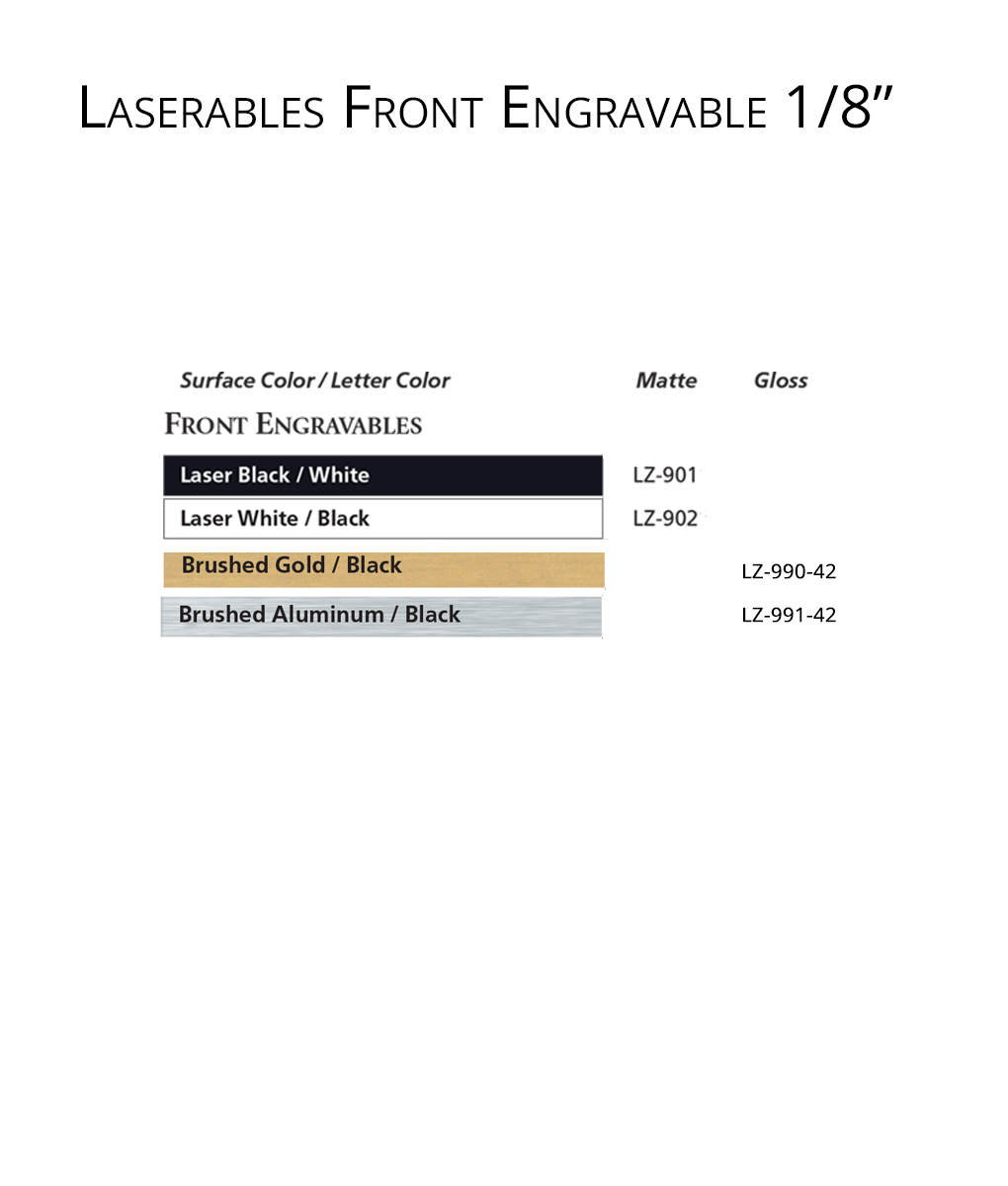 IPI Laserables Front Engravable 1/8 color options from Main Trophy Supply