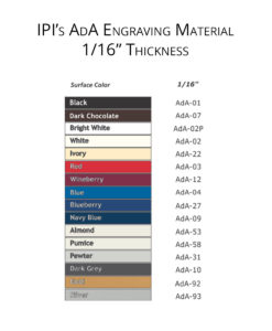 IPI AdA Laser Engravable material color options from Main Trophy Supply