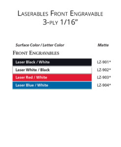 IPI Laserables Front Engravable 1/16 3-ply color options from Main Trophy Supply